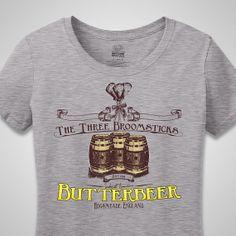 Harry Potter Women's Shirt - The Three Broomsticks in Hogsmeade's World Famous Butterbeer - Tee - Tshirt - Shirt - Nerdy - Geek - Hogwarts