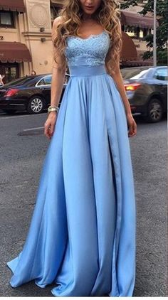 Sexy Evening Dres,Appliques Prom Dresses,Long Prom Dress,Blue Evening