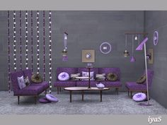 Ultra modern set for your living room. The set includes 15 objects: sofa, loveseat, living chair, 4 kinds of pillows, floor light, fake wall lights, divider, wall clock, teapot, cup of coffee and...