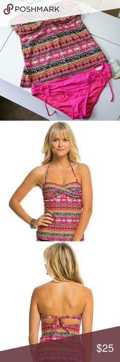 """HOBIE  """"WHAT'S  KNOT TO LIKE"""" TANKINI This What's Knot To Like? TwistBandeauTankini Bikini Top answers a question with an easy answer – Nothing! With a bright print and a removable halter strap, this top is hard to dislike! The Solid Adjustable Hipster Bikini Bottom is a mix-and-match dream. The solid color allows you to wear with multiple tops while the side ties allow you to adjust the fit. NWT and from a smoke-free home. Hobie Swim"""