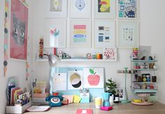This entire setup needs to be in my life! The colors and desk are perfect, and the decorations just add to it!