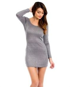 #sexy #glitter #glitzy #dress #sexydress #grey #bodycon #club #clubwear #party Party Kleidung, Club Parties, Long Sleeve Mini Dress, Fast Fashion, Clubwear, Party Wear, Glitter, Best Deals, Grey