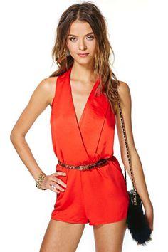 Red/orange Jumpsuit romper with animal & black accents.