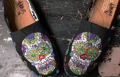 Sugar Skulls Day of the Dead hand painted TOMS. $135.00, via Etsy.