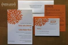 How about printing invitations and then stamping a pretty dahlia in the corner?