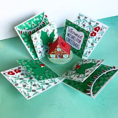 Made a little Christmas exploding box only x inch square . Made from white card, papers and diecuts. The litt. Christmas Gift Card Holders, Boxed Christmas Cards, Christmas Gift Box, Christmas Paper, Xmas Cards, Handmade Christmas, Scrapbook Box, Scrapbooking, Exploding Box Card