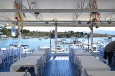 At the picturesque village of Perdika in Aegina, Nontas fish restaurant lies on a waterfront setting offering views to the opposite small island of Moni. Small Island, Greece, Restaurant, Fish, Traditional, Table Decorations, Home Decor, Greece Country, Decoration Home