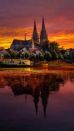 regensburg, germany, sunset, cityscape
