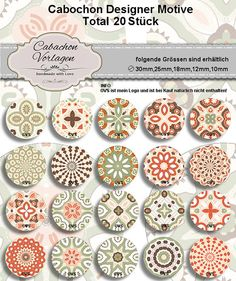Cabochon Digital Collage Sheet 25mm18mm14mm12mm by CaboDesigner