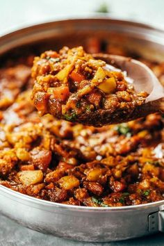 Chili made with cauliflower- paleo vegan. Full of flavor healthy and satisfying. The kind of home-cooked meal that makes you all comfy inside. Recipe can be made ahead and frozen. Whole30 Dinner Recipes, Paleo Dinner, Vegetarian Recipes, Healthy Recipes, Paleo Meals, Easy Whole 30 Recipes, Whole Food Recipes, Vegan Cauliflower, Vegetarian