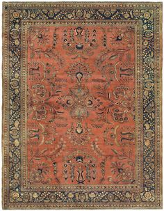 """MAHAJIRAN SAROUK, West Central Persian, 10ft 5in x 13ft 6in, Circa 1920. The best Mahajiran Sarouks are one of the most sought-after Persian carpet types from the first quarter of the 20th century, renowned for their exceptionally lustrous wool, captivating botanical designs, and uncompromising craftsmanship. These elements are immediately apparent in this superb vintage Oriental rug, where expert """"abrash"""" or color striation creates a subtle layering of its warm rust-toned field color."""