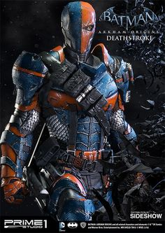 The Deathstroke Statue by Prime 1 Studio is available at Sideshow.com for fans of the video game Batman: Arkham Origins and DC comics.
