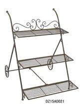 3 TIER METAL TROLLY PLANT STAND IRON FLOWER POT STAND