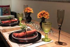 decoração para mesa de jantar laranja e verde - Pesquisa Google