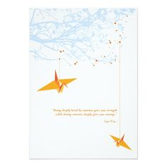 Affordable DIY Japanese inspired modern paper cranes wedding invitation with love quote. Fully customizable with matching stationery.