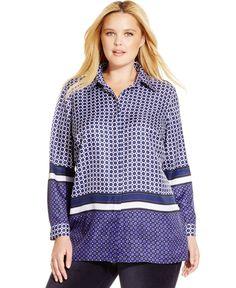 Michael Michael Kors Plus Size Mixed-Print Shirt