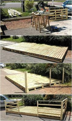 Creating a patio deck at home is not difficult because the pallets are not hard to find and they are easy to join to create almost anything. The deck is great to create for placing the furniture for enjoying the weather with the family on the holidays; the place can be used for serving the guests as well.
