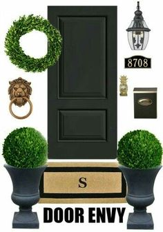 front porch ideas curb appeal Add some major curb appeal to your front door entrance with these fab ideas via Bliss at Home Front Door Porch, Front Door Entrance, Front Entrances, Front Door Decor, Entry Doors, Doorway, Front Door Plants, House Entrance, Front Entry