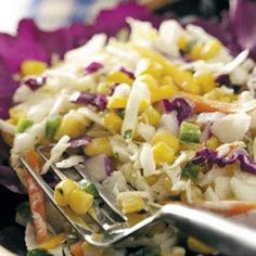Southern Coleslaw Recipe- Recipes Lime and cilantro add refreshing accents to this tangy, yummy slaw. Barbacoa, Southern Coleslaw, Cooking Recipes, Healthy Recipes, Ww Recipes, Mexican Recipes, Cooking Tips, Dinner Recipes, Salads