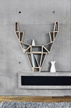 BEdesign -Deer Shelf 1 Bookshelf Styling, Bookshelf Design, Shelving Design, Bookshelf Ideas, Storage Shelving, Minimalist Scandinavian, Scandinavian Design, Minimalist Interior, Minimalist Design