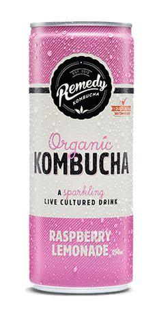 Can of Remedy Kombucha Raspberry Lemonade Spritz - Best Kombucha, Kombucha Brands, Kombucha Drink, Kombucha Bottles, Organic Kombucha, Tea Packaging, Beverage Packaging, Bottle Packaging, Packaging Design