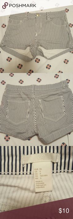 H&M Shorts High waisted H&M shorts. White & navy stripes. Worn once. Like new. Size 6. H&M Shorts