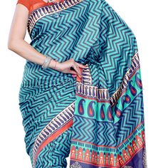 This printed blue raw silk saree is an absolute stunner, if teamed with the right kind of blouse and accessorized well. Indian Dresses, Indian Outfits, Buy Dress, Dress Up, Party Wear Dresses, Wedding Dresses, Wedding Outfits For Women, Raw Silk Saree, Wedding Guest Style