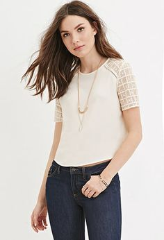 Boxy Lace Paneled Top | Forever 21 - 2000146338
