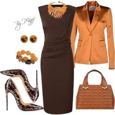 Burnt Orange & Brown A fashion look from October 2014 featuring Planet dresses, Adele Fado blazers y Christian Louboutin pumps. Browse and shop related looks. Fashion Mode, Work Fashion, Fashion Looks, Womens Fashion, Fashion Trends, Fashion Beauty, Classy Outfits, Chic Outfits, Fall Outfits