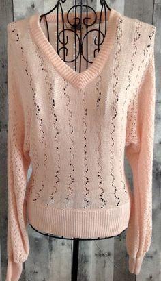 Vintage Organically Grown By Arpeja Sweater Top Blouse Crochet Knit Blush Small  #OrganicallyGrownbyArpeja #SweaterTop