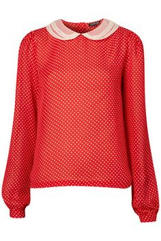 red and white polka dot blouse from us.topshop.com    $76