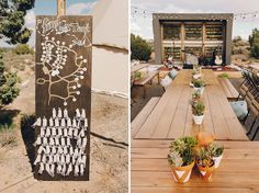 Escort cards to show you what tent you're staying in!  Weddingchella Desert Wedding 'Cause We Can Events: Wedding Planning for the wanderers of the world
