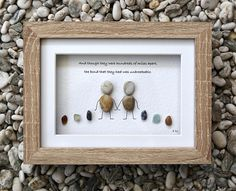 Pebble Art Frame - Distant Friends, Mother and Daughter, Father and Daughter, Couple, Gift for Friend, Moving Away, 'Unbreakable' ©.