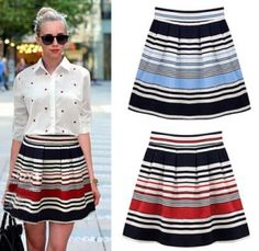 Find More Skirts Information about New Saias Faldas Time limited A line Free shipping Striped Short Skirts Womens 2015 Summer Printing Elastic Waist Tutu Dr066145 ,High Quality skirt bow,China skirt store Suppliers, Cheap skirted bedspread from LYM BAGS STORE on Aliexpress.com