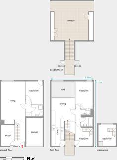 Barbican Estate - Below podium Mews House, Barbican, Brutalist, House Floor Plans, My Dream Home, Townhouse, Beautiful Homes, House Ideas, Diagram