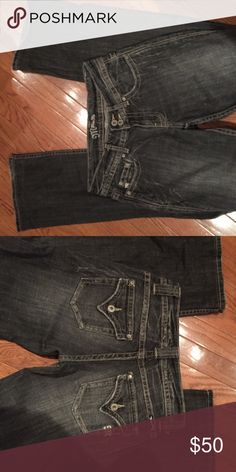 "Miss Me jeans. Simple but the ""M"" is bling out. Dark gray jeans size 27 they are in great condition. Boot cut. Miss Me Jeans Boot Cut"