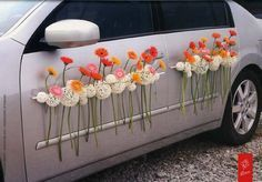 Yes, flowers can go just about anywhere. This would be perfect as your getaway car after the ceremony. Church Wedding Decorations, Flower Decorations, Wedding Getaway Car, Car Wedding, Floral Wedding, Wedding Flowers, Just Married Car, Bridal Car, Wedding Stage