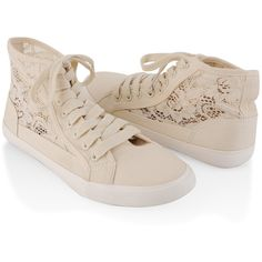 Canvas Lace High Tops ($17) found on Polyvore