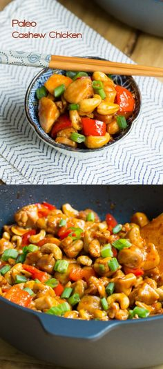 Paleo Cashew Chicken Recipe  2 lb boneless skinless chicken thighs, 2 TBsp coconut oil, 2 red bell peppers, 1⅓c raw whole cashews, 1 bunch scallions, 2 TBsp arrow root powder, ½ tsp sea salt  Sauce: ⅓c coconut aminos (instead of soy sauce), ¼c coconut vinegar, 2 TBsp tomato paste, 3 TBsp  palm sugar or raw honey, 1-3 cloves garlic, 1 TBsp fresh grated ginger, ¼-½ tsp crushed red pepper