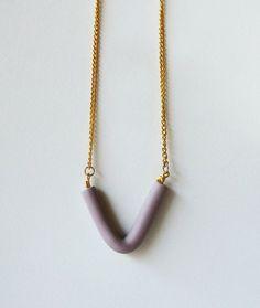 V necklace #jewelry #handmade #ooak #gold #pendant #bead #purple #geometric