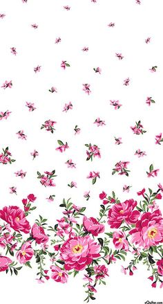 Bed of Roses - Cabbage Rose Border - Deep Pink