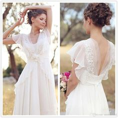 Elegant A-Line Ivory Flower Cap Sleeve V-Neck Chiffon Open Back Wedding Dresses UK Wedding Dresses, Ivory Wedding Dress, Open Back Wedding Dress, V Neck Wedding Dress, Wedding Dress Chiffon Wedding Dresses 2018 Outdoor Wedding Dress, Open Back Wedding Dress, Wedding Dress Chiffon, Wedding Dresses Plus Size, Elegant Wedding Dress, Ivory Wedding, Bridal Dresses, Lace Chiffon, Dress Lace