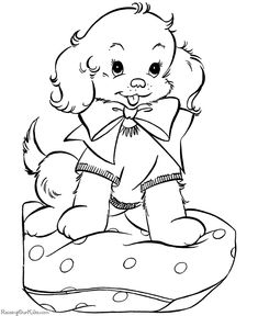A puppy for Christmas! A free, printable coloring page