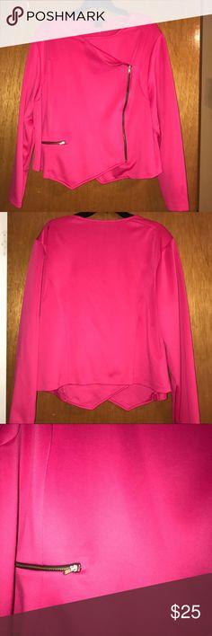 Hot Pink Moto Inspired Crop Jacket Hot pink Moto inspired crop jacket. Material is slightly stretchy. Ashley Stewart Jackets & Coats