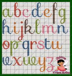 Pretty X-stitch alphabet, lower case Cross Stitch Alphabet Patterns, Cross Stitch Letters, Cross Stitch Borders, Cross Stitch Baby, Cross Stitching, Cross Stitch Embroidery, Stitch Patterns, Modele Pixel, Crochet Letters