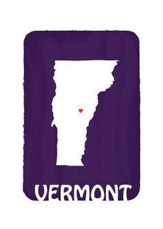 dekanimal's Purple Vermont State Map Print / 13 X 19