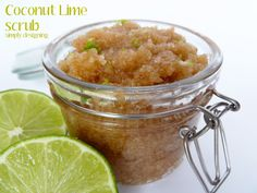 Coconut Lime Scrub - a really simple and amazing scrub using only 3 ingredients!! This is perfect to get your hands, feet and bod beach ready! Plus is smells AMAZING!  @Jackie Gregory Designing {Ashley Phipps} #handmadegift #mothersday #gift #scrub #beauty #diybeauty #healthandbeauty
