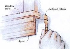 Don't show end grain. It absorbs paint and especially stains differently than flat grain. If a piece of molding must end abruptly, cut a return for it.