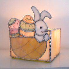 Easter Bunny Basket Stained Glass Spring Candle от hobbymakers