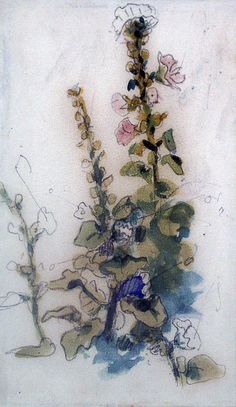 Rose Tremiere (Hollyhocks) by Eugene Delacroix; Watercolour on paper from the New Art Gallery, Walsall